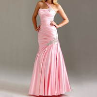 long prom dresses,  pink party dress, girls party dress, pink prom dress, one shoulder dress, evening gown prom dress, RE113