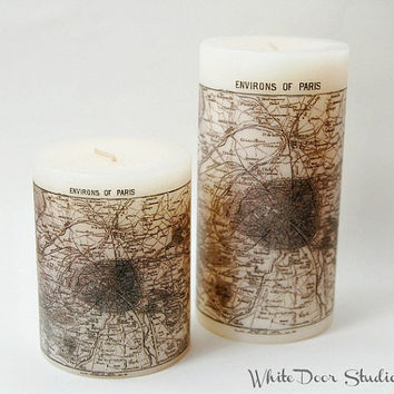Antique Paris Map Pillar Candle, Paris Map Home Decor, Anitque Map Candle, Paris Candle