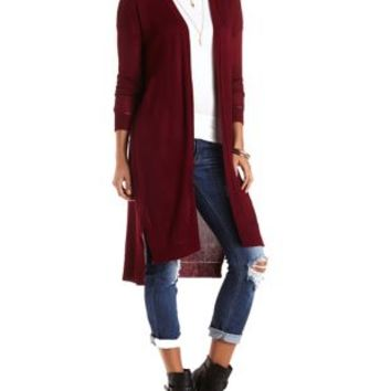 Open Duster Cardigan Sweater by Charlotte Russe - Burgundy