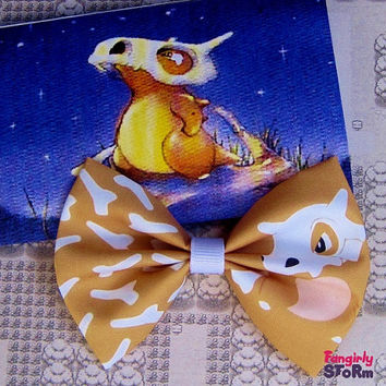 Pokemon Cubone Hair bow or  Bow tie Handmade  Kawaii Gamer Bow