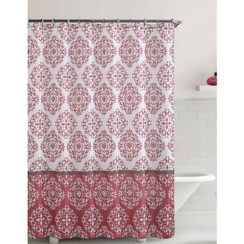 "Shower Curtain- Ashur Red Embossed Microfiber - 72""x 72"""