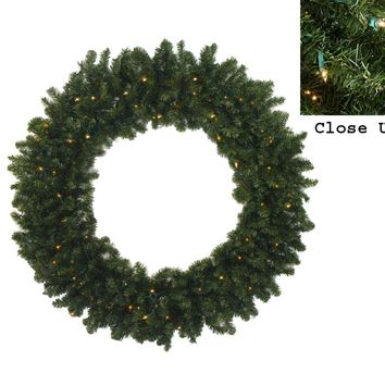 "72"" Pre-Lit Commercial Canadian Pine Artificial Christmas Wreath - Multi Lights"