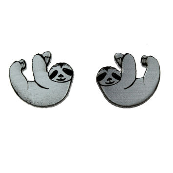 Sloth Earrings in Silver/Black