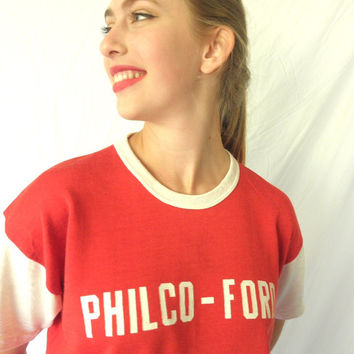 Ultra Rare PHILCO FORD Red and White T Shirt Number 62 Cotton Rayon Vintage 1960s Mens Size Large Jackpot Jen