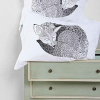 The Rise And Fall Sleeping Fox Pillowcase - Set Of 2- White One