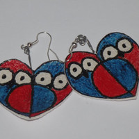 Ready to ship, owl, earrings, handmade, hand, painted, faux, leather, white, red, blue, big, heart, black