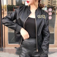 """Gucci"" Women Fashion Embroidery Letter Long Sleeve Zip Cardigan Short Section PU Leather Clothes Jacket Coat"