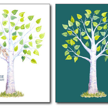 "Wedding Clipart - Watercolor birch guest signing tree 9""x12"", 2 owl, 3 spare leaves printable instant download (set24)"