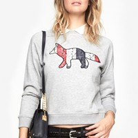 Maison Kitsune Fox Sweater in Grey Melange