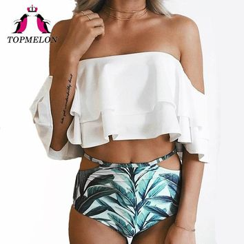*Online Exclusive* Off the Shoulder Ruffle Top Swimsuit with Highwaist Cutout Bottoms