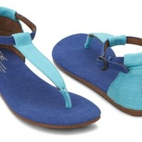 TOMS Shoes Blue Mix Women's Ankle Strap Flat Playa Sandals,