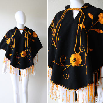 Vintage Mexican Flower Embroidered Black Wool Poncho Cape