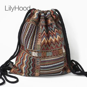 Women's Drawstring Fabric Backpack (Bohemian / Boho Chic Style)