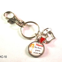 RN Nurse Key Chain with Lanyard Clasp for Name Badges and Keys