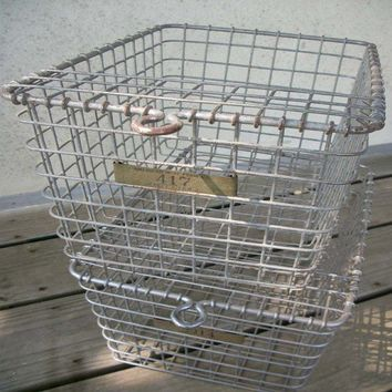 Industrial Salvage Wire Locker Basket by SalvageNation on Etsy