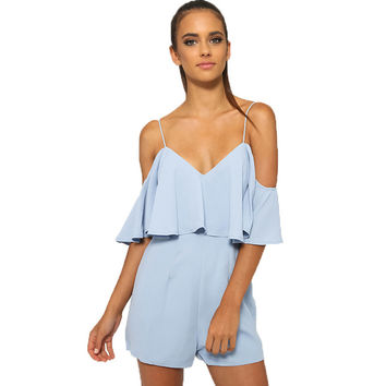 GR4 New Woman Solid Color Spagehetti Strap Ruffle Romper Milan G.G.T Georgette Linen Flounce Overlay Casual Jumpsuit Playsuit