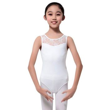 New Children Girls Dance Ballet Tutu Dress Costume Sleeveless Lace Gymnastics Leotard Skating Stretch Bodysuit Dancewear Ballet