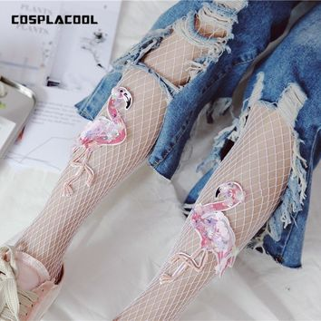 [COSPLACOOL]Fishnet Pantyhose Shining Bird Pattern Mesh Tights Women Beauty Manual Embroidery Sexy Hollow Out Female Stockings