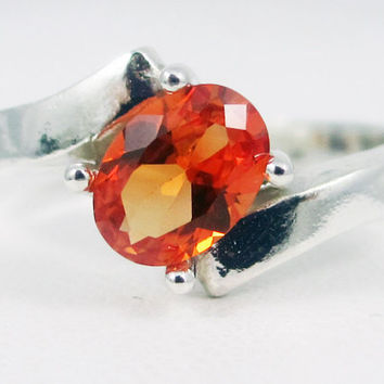 Orange Sapphire Offset Oval Ring Sterling Silver, September Birthstone Ring, Orange Sapphire Oval Ring, 925 Sterling Silver Ring
