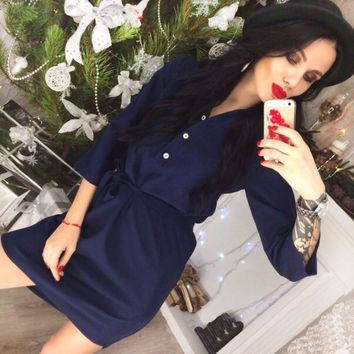 2018 New Vintage Women Office work Shirt dress spring Half sleeve waistband Loose Party Wine red Green Casual beach dresses