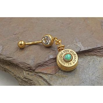 Brass Bullet with Opal Belly Button Ring 450