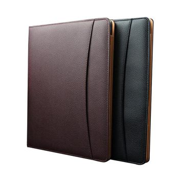 A4 Leather Business Notebook Fitted Note Pad Composition Book Calculator Name Card Pen Clip Ring Binder Gift Notebook Hardcover