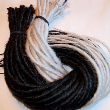 40 Synthetic Dreads Black and White Dreadlock Kit or Falls