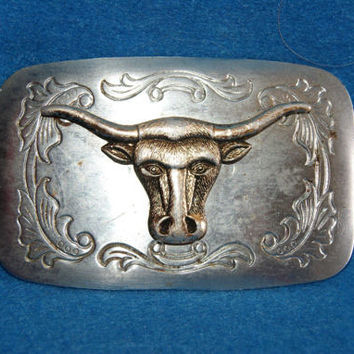 Western Long Horn Steer Western Motif Belt Buckle Silver Tone Background Gold Tone Steer Made In Japan