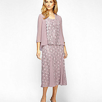 Alex Evenings Tea-Length Lace Jacket Dress - Rose