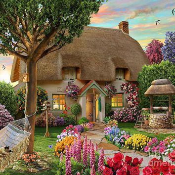 Diamond  Painting  Scenic  Garden  House  Cross  Stitch