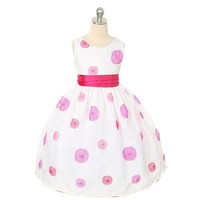 Sweet Kids Girl Pink Polka Dot Flower Girl Easter Pageant Dress 6M-12
