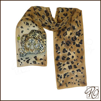 Silk Scarf Leopard Hand Painted in Beige Brown Black. Animal Scarf. Small Scarf 8x53 inches. Ready to ship.