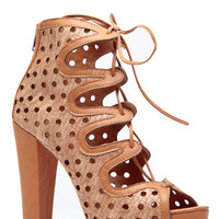 Tan Dot Cut Out Chunky Lace Up Heels