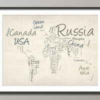 Writing Text Map of the World Art Print 18x24 inch on Etsy
