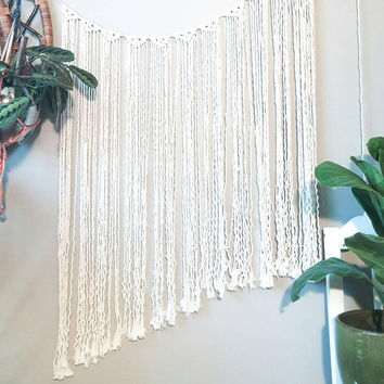 White Macrame Curtain- Wall Accent- Minimal- Bohemian Decor- Dorm Decor~ Planter~ Modern Macrame- White Wall Accent- Boho Decor- BohoChic