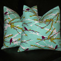 """Decorative Pillows set of Two 20x20 inch Pillow Covers 20"""" Aqua, Purple, Sage Green Joel Dewberry Sparrows Aviary 2"""