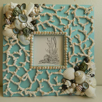 Tranquil Waters Aqua Frame with Shells and Coral