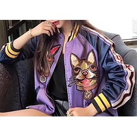 GUCCI Popular Women Casual Dog Embroidery Silk Zipper Coat Jacket I-XMCP-YC