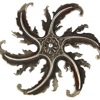 Whirling Star Silver Brooch