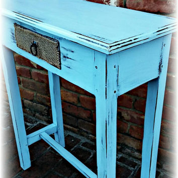 Beachy cottage entry table, distressed Beachy table, Beachy table, blue side table, rustic side table, shabby chic table, blue table