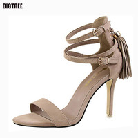 BIGTREE 2017 Sexy Women High  Heels Sandals Suede Woman Sandals Thin Heel Tassel Women Shoes Women High Heels Sandals 54TXJ