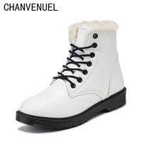 2017 New Winter Women Ankle Boots Soft Cute Women Snow Boots Round Toe Flat with Winter Fur Ladies Ankle Boots
