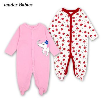 Baby Romper Winter Cartoon Baby Clothes Autumn Winter Newborn Clothes Baby Boy Gril Romper Long Sleeve Infant Product 2pcs/lot
