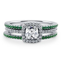 Sterling Silver Cushion Cubic Zirconia CZ Halo Ring Set 1.15 ct.twBe the first to write a reviewSKU# VR206-02