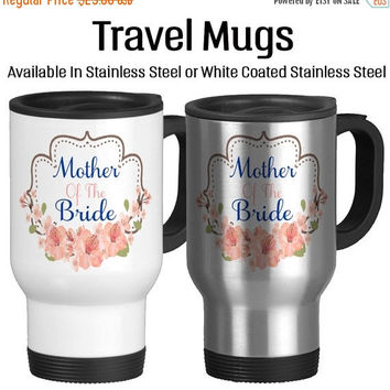 Travel Mug, Mother Of The Bride Mug For Wedding Wedding Gift Married Gifts Cherry Blossoms Keepsake, Gift Idea, Stainless Steel 14 oz