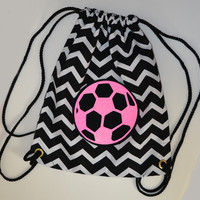 Hot Pink Glitter SOCCER on Black and White Chevron Backpack Bag