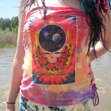 Grateful Dead Lace Up Tie Dye Tube Top