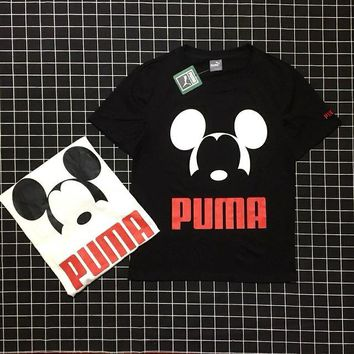 PUMA x Mickey limited edition Mickey cotton Odell couple casual fashion T-shirt Black White