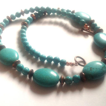 Boho Chunky Turquoise Necklace - Long Summer Necklace