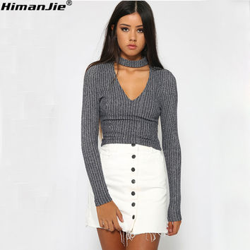 HimanJie New Sweater Autumn Winter Women Fashion Cotton Elastic Sweater Lady Knitted Long Sleeve V-neck Woolen Pullovers